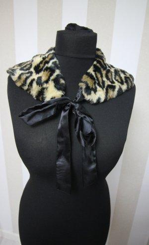 Vintage Kragen Leopard Schleife chic Herbst Winter Animal