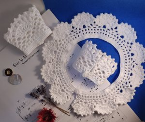 VINTAGE  70er Écharpe en crochet blanc