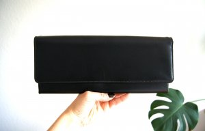 Vintage Kunstlederclutch Y2K, minimalism Bag schwarz, 90er alternative