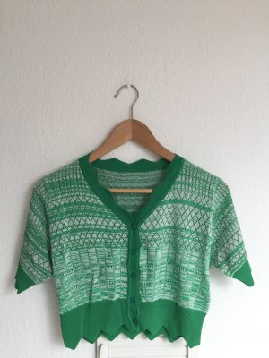 Vintage Short Sleeve Knitted Jacket neon green-green
