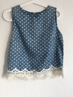 Cropped Top natural white-cornflower blue