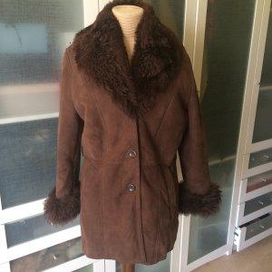 Vintage Lammfell Leder Mantel Gr 40