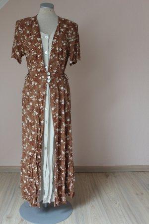 Vintage Landhausstil Sommerkleid Midi beige braun Streublümchen Gr. 40