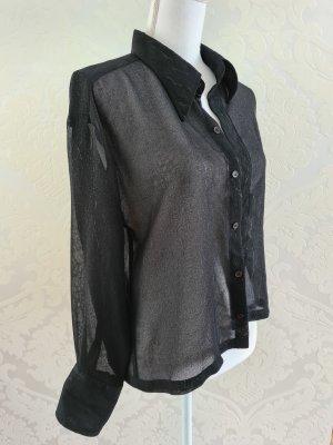 Vintage langarm Bluse in schwarz transparent
