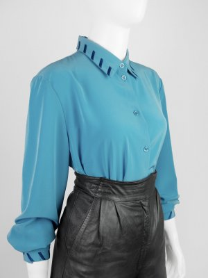 Vintage Langarm-Bluse mit Stickerei