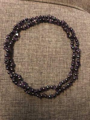 Vintage Lange Amthyst Hämatit Halskette Kette Perlenkette Edelstein