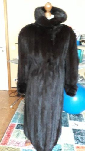True Vintage Manteau de fourrure noir-taupe