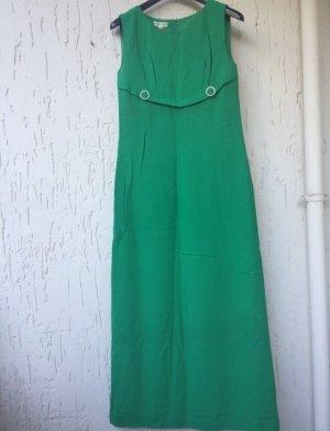 Vintage: langes grünes ärmelloses Abendkleid
