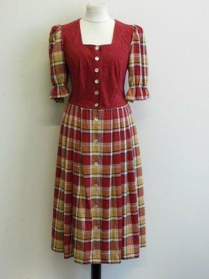 Vintage Langes Trachten Kleid Tirol-Look Kariert Gr:44 Bordeaux-Beige