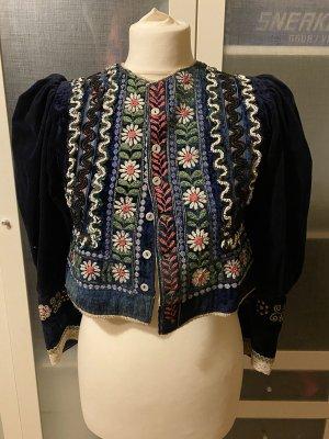 Vintage Lanz Samt Trachten Jacke bestickt Gr 36