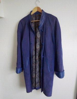True Vintage Manteau en cuir bleu-bleu acier