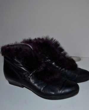 Vintage Leder Boots mit Fell detail Gr.38