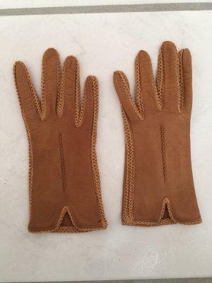 Rękawiczki skórzane cognac Skóra