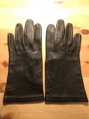 Vintage Leren handschoenen donkerbruin-zwart bruin