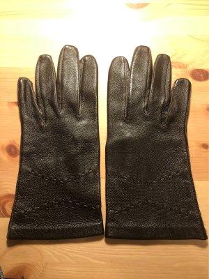 Vintage Rękawiczki skórzane ciemnobrązowy-czarno-brązowy