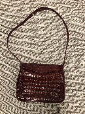 Vintage Leder Handtasche Henkeltasche bordeauxrot dunkelrot