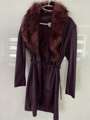 Dolce Elavir Skórzany płaszcz brązowo-fioletowy