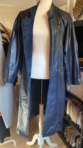 Vintage Leder Mantel 80er C&A dunkelblau Gr M L XL