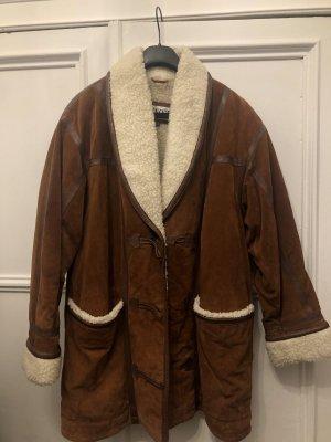 Vintage Abrigo de cuero marrón
