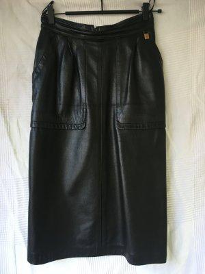 Vintage Jupe en cuir noir cuir