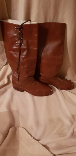 Wide Calf Boots russet-brown red leather