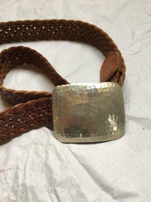 Cinturón trenzado coñac-color plata