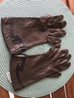 Rękawiczki skórzane ciemnobrązowy