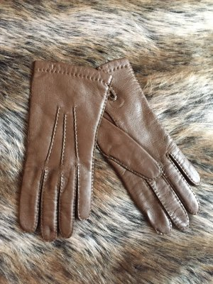 Leather Gloves brown-light brown
