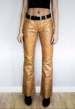 Vintage Pantalón de cuero coñac-camel