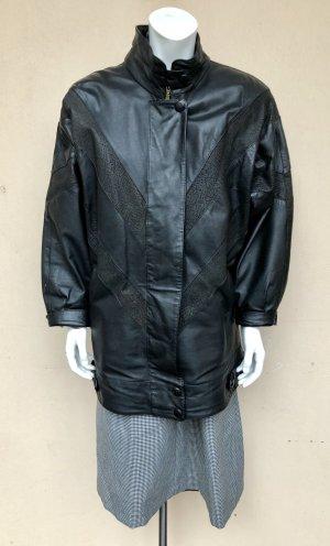 Vintage Lederjacke 38/40 Lederbluson schwarz Echtleder Muster Stehkragen Oversized Achtziger