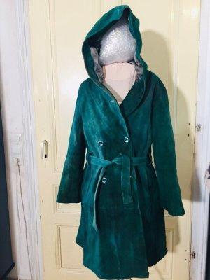 Skórzany płaszcz ciemnozielony