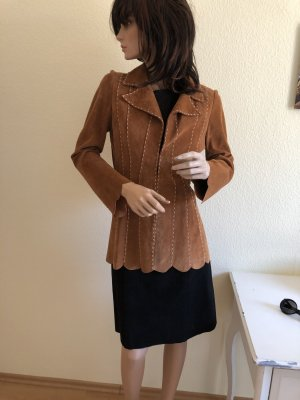 Vintage Leather Coat light brown-camel leather