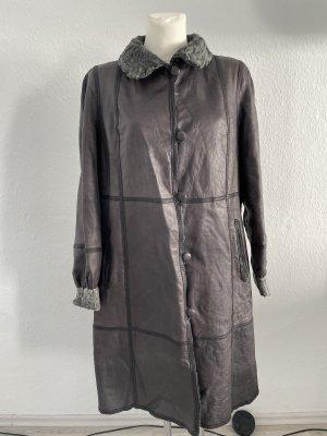 Abrigo de piel gris-gris antracita