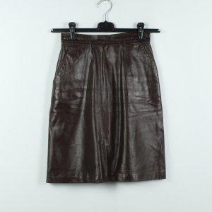 Vintage Falda de cuero marrón-negro-marrón oscuro