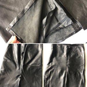 Vintage Falda de cuero negro