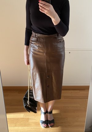 Leather Skirt brown-cognac-coloured