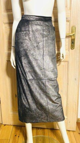 Krizia Skórzana spódnica czarny-srebrny