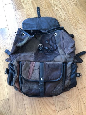 Vintage Laptop Backpack black-silver-colored leather