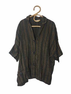 Hopsack Linen Blouse black-brown