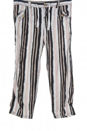 Vintage Pantalón de lino estampado a rayas look casual