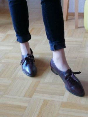 Vintage Loafer Leder Halbschuhe Gabor 40 Aubergine Braun