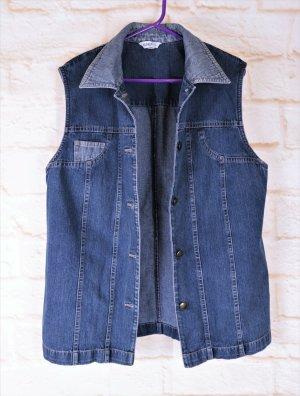 Vintage Long Jeans Weste Blanchelle Größe 40 42 L Straight Blau Denim Unisex Jeansjacke