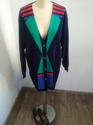 Vintage Longcardigan Strickjacke dunkelblau bunt Gr. 42