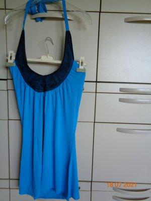 Vintage Rugloze top neon blauw-taupe Gemengd weefsel