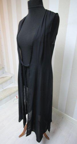 Gilet long tricoté noir
