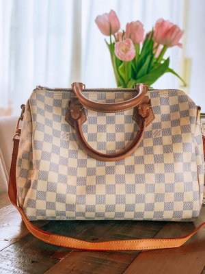 Vintage Louis Vuitton Speedy Bandouliere 30 Damier Azur Canvas