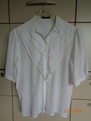 Vintage Blusa con volantes blanco Algodón