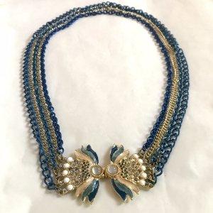 Vintage Collier doré-bleu