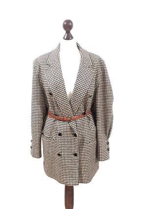 Vintage Luxus Wolle-Seide Mantel/Blazer schwarz-weiß kariert