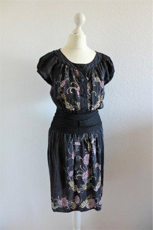 Vintage M Missoni Boho Seide Kleid schwarz Gatsby Gr. 36 S